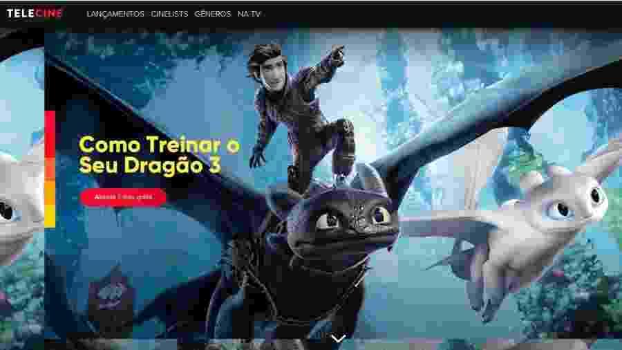 Tela do serviço de streaming do Telecine, que ganhou um plano mais barato - Reprodução