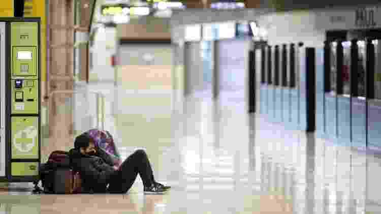 Aeroporto de Barajas, em Madri, vazio neste sábado: apenas 10% dos voos normais estão em operação na Espanha - Getty Images - Getty Images