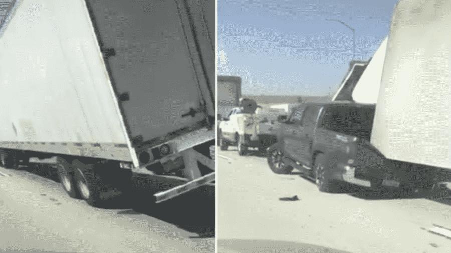 Carreta é derrubada por ventania na Califórnia e esmaga caminhonete - Reprodução/TikTok