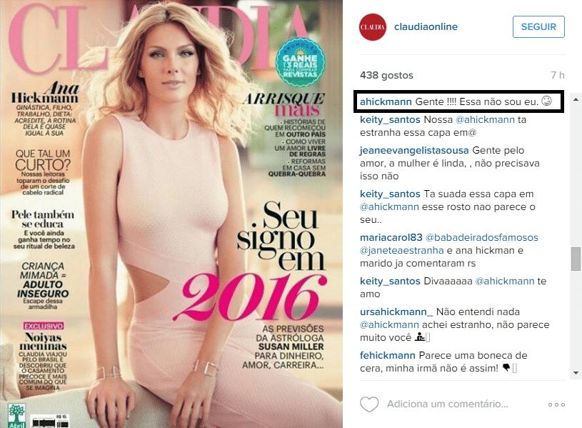 30.dez.2015 - Revista pesa a mão no photoshop e Ana Hickmann aparece irreconhecível