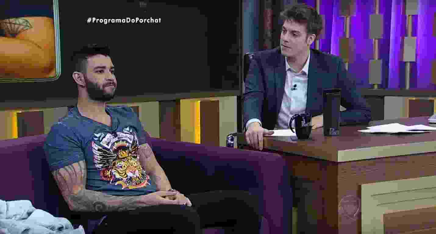 """12.out.2016 - Em entrevista ao """"Programa do Porchat"""", Gusttavo Lima diz que não acreditava no sucesso da música """"Balada Boa"""" - Reprodução /TV Record"""