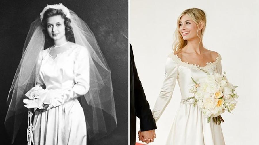 A americana Stephanie Samson Kaberna, editora da revista InStyle, usou o vestido da avó para se casar - Lacie Hansen/instyle.com/Reprodução