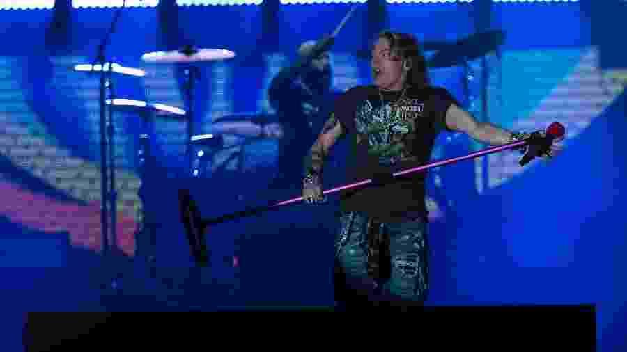 """Axl Rose faz careta na longa apresentação do Guns N""""Roses no Rock in Rio - Bruna Prado/UOL"""