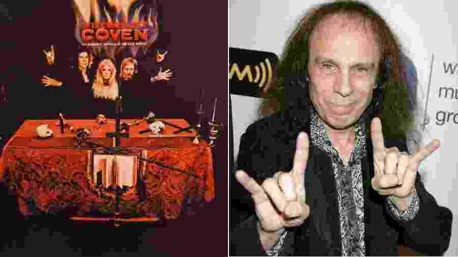 A contracapa do disco de estreia do Coven, de 1969, e Ronnie James Dio fazendo o símbolo que consagrou - Reprodução e Getty Images