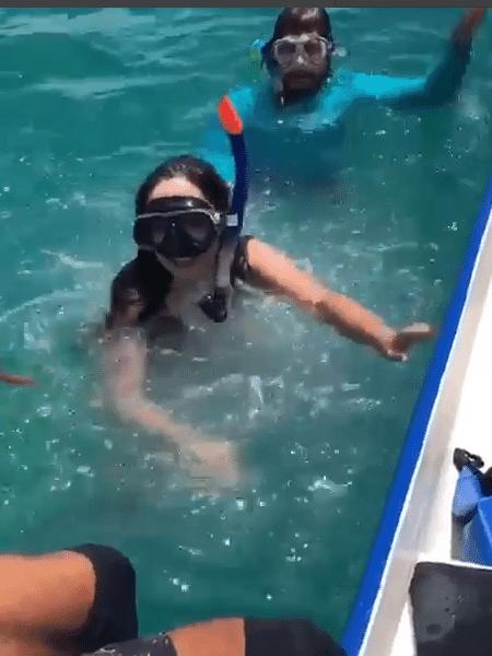 Tatá Werneck tenta mergulhar com o namorado, Rafael Vitti - Reprodução/Instagram
