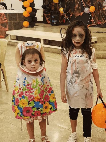 Maya e sua irmã Charlie preparadas para o Halloween - Reprodução