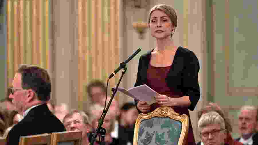 A teóloga e filósofa Jayne Svenungsson, que deixou a Academia Sueca - Jonas Ekströmer/TT