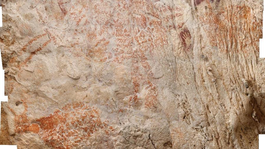 Pintura figurativa feita há 40 mil anos é encontrada na Ásia - AFP PHOTO / NATURE / LUC-HENRI FAGE/KALIMANTHROPE.COM
