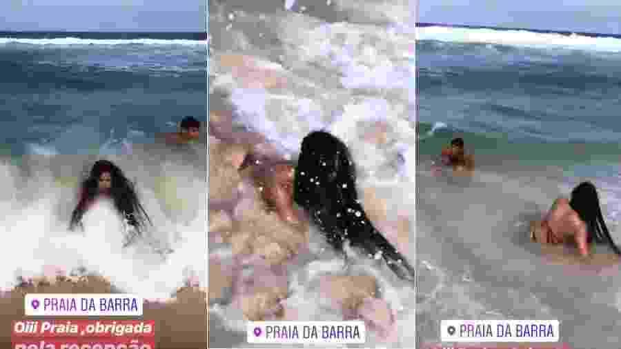 Elana toma caldo em praia do Rio e Danrley se diverte - Reprodução/Instagram