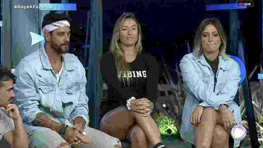 Diego, Bifão e Tati Dias formam a quarta roça de A Fazenda 2019 - Reprodução/RecordTV