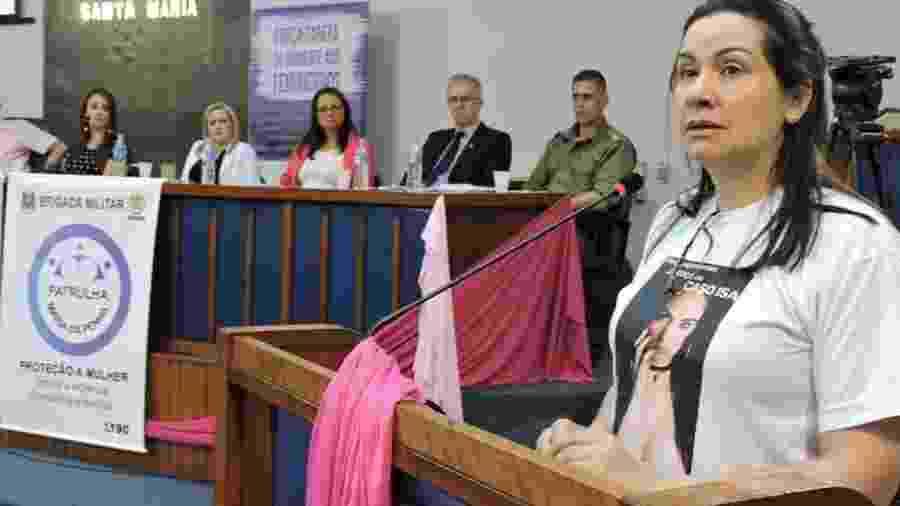 Cibelle, mãe de Isadora, em audiência pública contra o feminicídio - Acervo pessoal