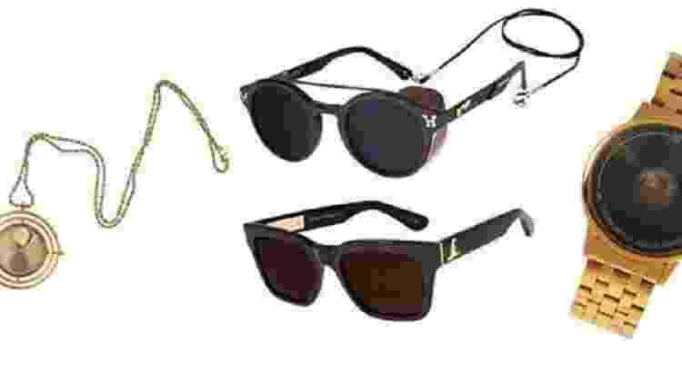Da esquerda para a direita: relógio o de bolso Vira-tempo; óculos Quadribol; óculos Chapéu Seletor e relógio Pomo de Ouro.  - Divulgação/Chilli Beans - Divulgação/Chilli Beans