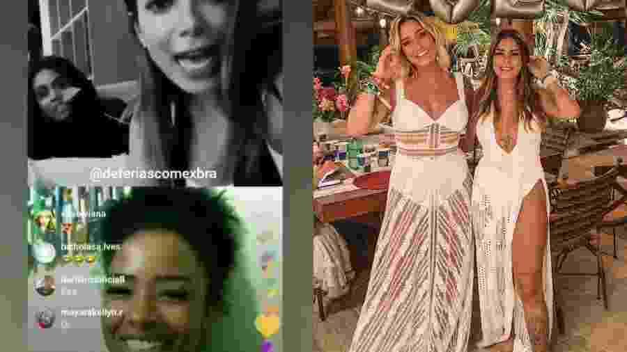 """Anitta faz live com participantes do """"De Férias com o Ex"""". Tati e Laryssa vão à festa de Neymar - Reprodução/Instagram/Montagem UOL"""