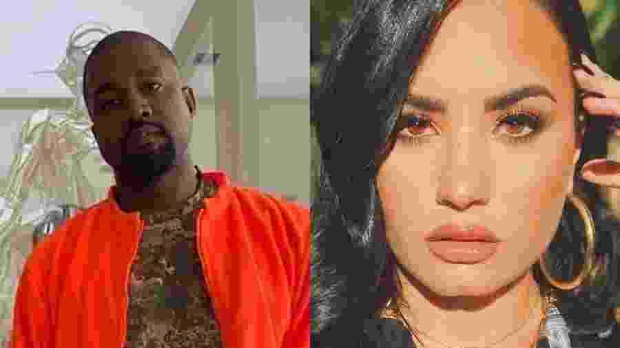 Kanye West e Demi Lovato - Reprodução/Instagram