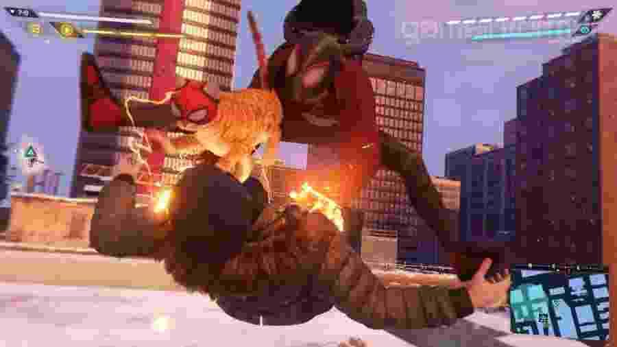 """""""Gato-Aranha"""" também vai combater o crime no jogo - Reprodução/YouTube"""