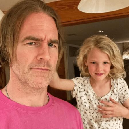 James Van Der Beek com Emilia; menina de 4 anos teve que ir ao pronto-socorro após se machucar em mesa - Reprodução/Instagram