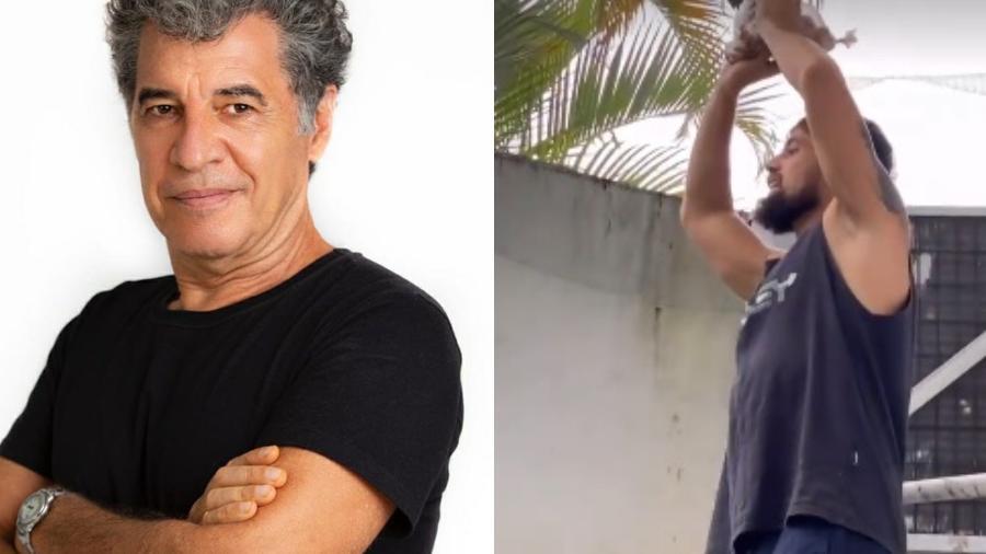 Rafael Cardoso joga encomenda para Paulo Betti por muro - Reprodução/Instagram