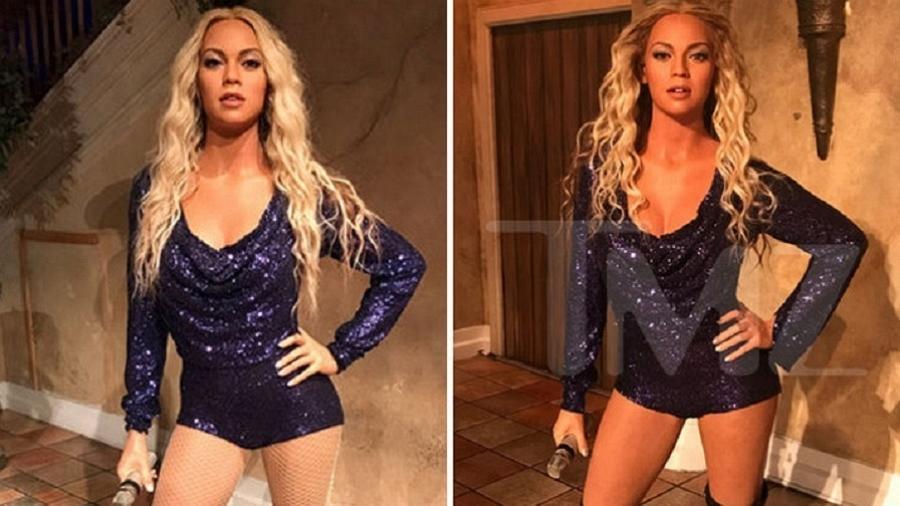 O antes e depois da estátua de cera da cantora Beyoncé - Reprodução