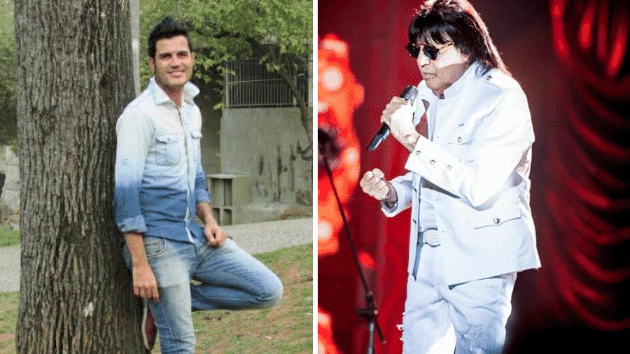 Fabiano Martins e o pai, o cantor sertanejo Marciano - Reprodução/Montagem