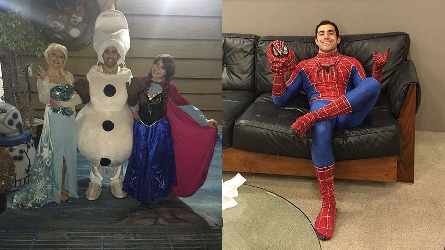 """Kaysar vestido de Olaf, personagem da animação """"Frozen"""" e de Homem-Aranha - Arquivo Pessoal"""