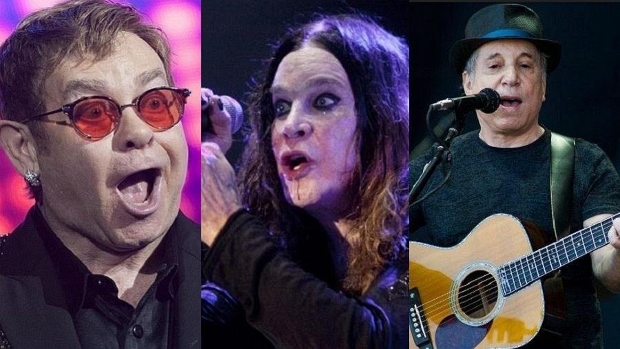 Elton John, Ozzy Osbourne e Paul Simon - Reinaldo Canato/UOL/Lucas Lima/UOL/Getty Images/Montagem