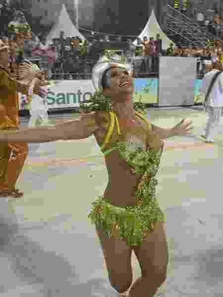 Scheila Carvalho no desfile da União Imperial de Santos, no ano passado - Reprodução/Facebook