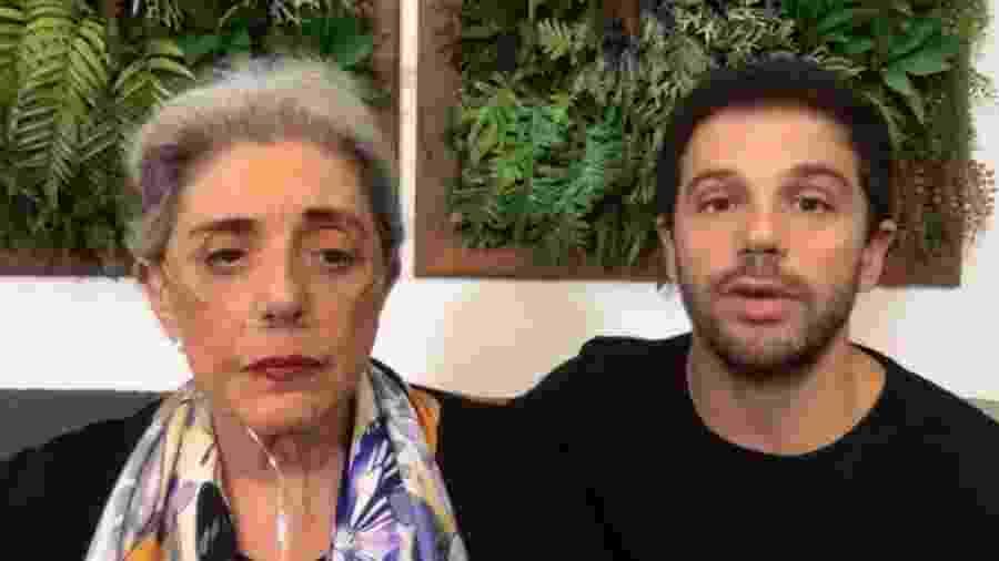 Duda Nagle e a mãe, Leda Nagle, em live  - Reprodução/YouTube