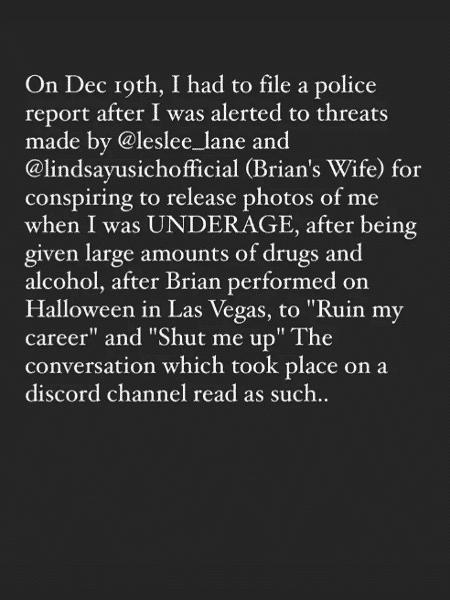 manson esposa denuncia - Reprodução/Instagram - Reprodução/Instagram