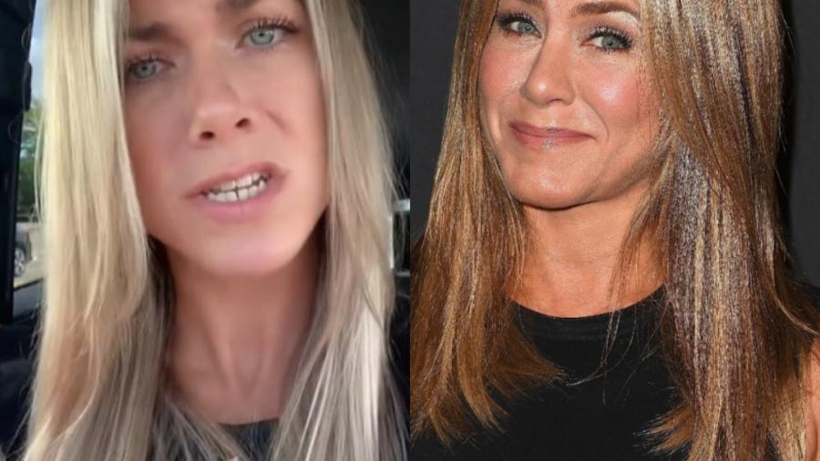 Lisa Tranel em vídeo para o TikTok e Jennifer Aniston - Reprodução/TikTok/Steve Granitz/WireImage