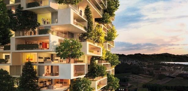 O futuro edifício em Lausanne, na Suíça, se transformará em uma floresta vertical - Reprodução/ designboom