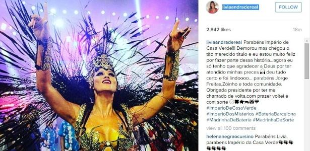 9.fev.2016 - Lívia Andrade posta foto no Instagram parabenizando a Império de Casa Verde