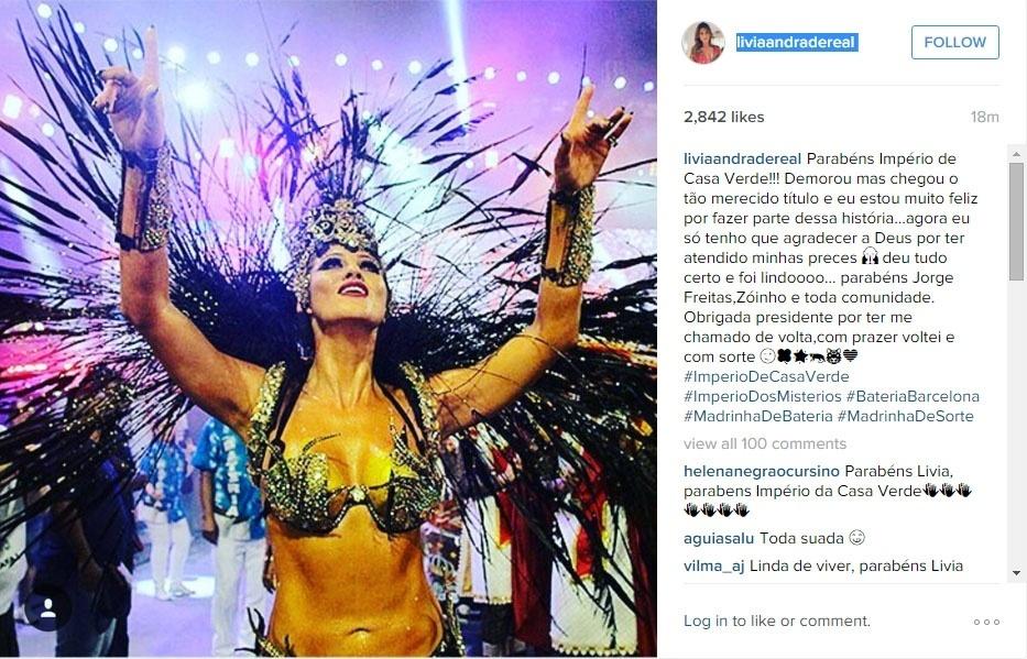 9.fev.2016 - Lívia Andrade posta foto no Instagram parabenizando a Império de Casa Verde, em que desfilou como madrinha de bateria