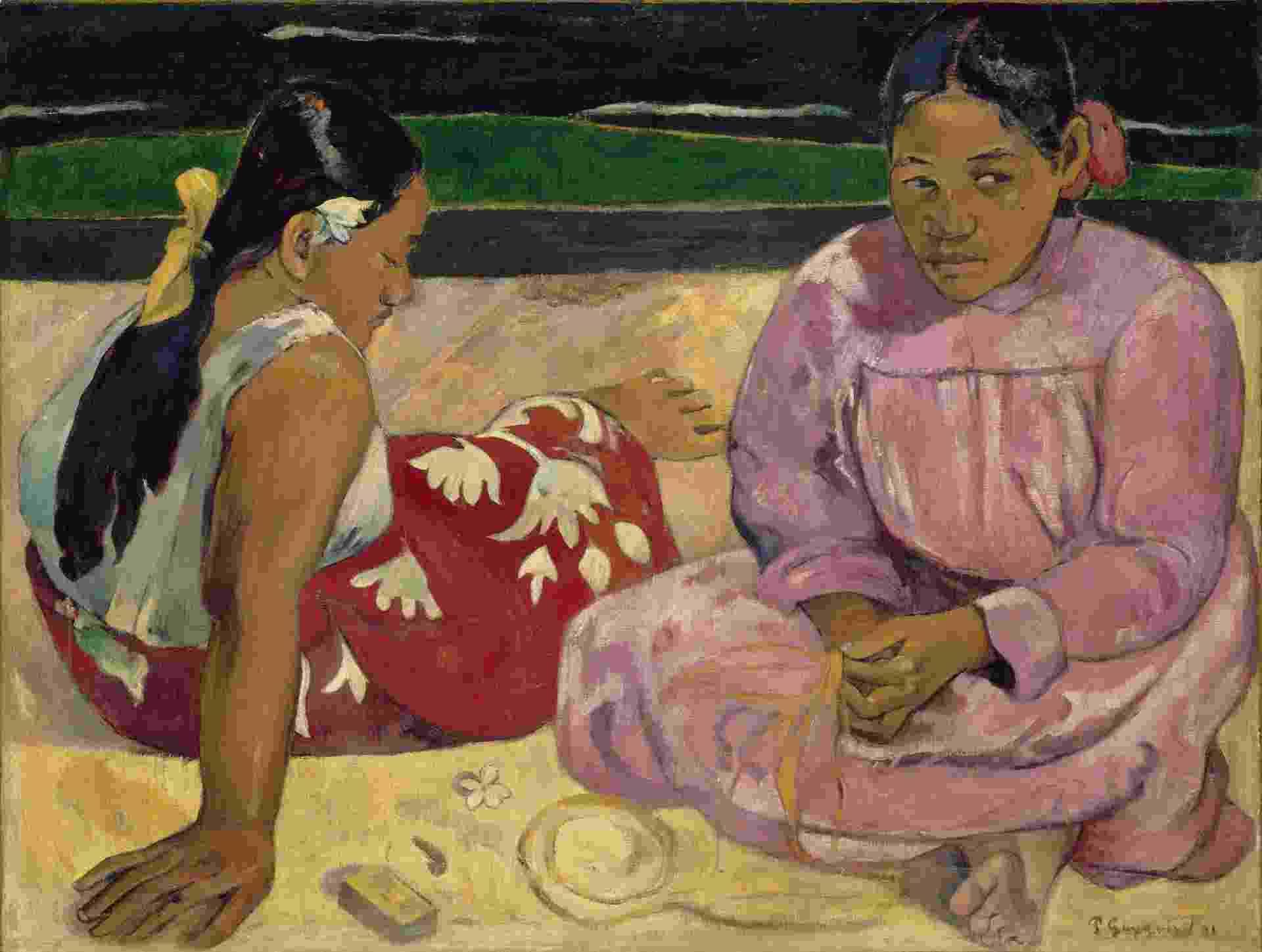 """Femmes de Tahiti [Mulheres do Taiti], de Paul Gauguin, estará na exposição """"O Triunfo da cor. O pós-impressionismo: obras-primas do Musée d'Orsay e do Musée de l'Orangerie"""", no CCBB - RMN-Grand Palais (Musée d'Orsay)"""