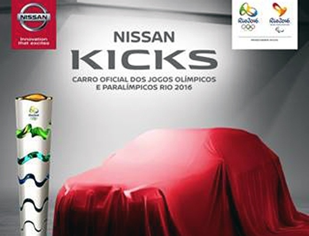 Folder ainda esconde visual do Kicks, o carro oficial dos Jogos Olímpicos do Rio 2016 - Divulgação