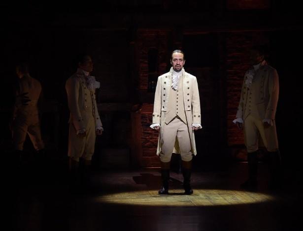 """O ator e compositor Lin-Manuel Miranda em cena do musical """"Hamilton"""" - AFP Photo/Getty Images/STR"""