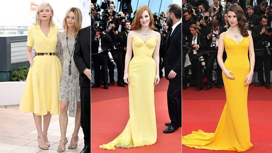 Vista como uma cor informal, o amarelo foi aposta de looks de Kirsten Dunst (à dir,), Jessica Chastain e Anna Kendrick - Getty Images