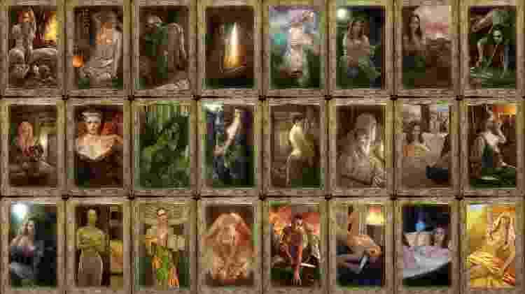 Cada mulher tinha um cartão próprio com pinturas suas em poses sensuais e normalmente sem roupa alguma, tipo coleção de figurinha. Que adulto. - Reprodução