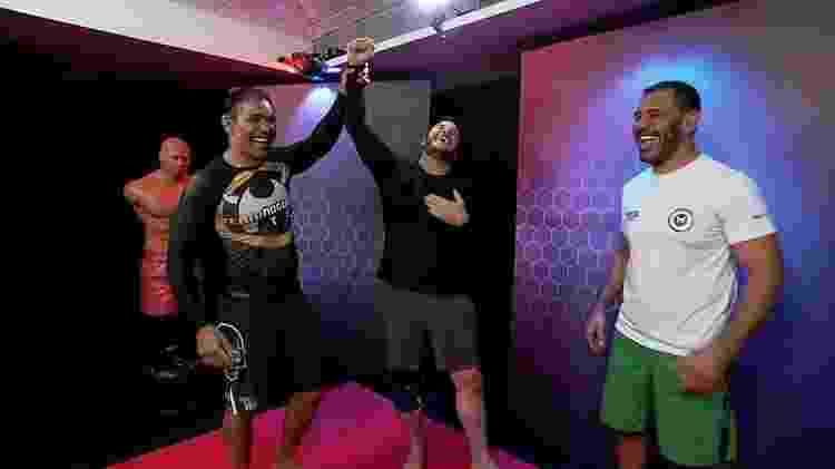Chris Pratt e os irmãos Nogueira do MMA - Reprodução/TV Globo - Reprodução/TV Globo