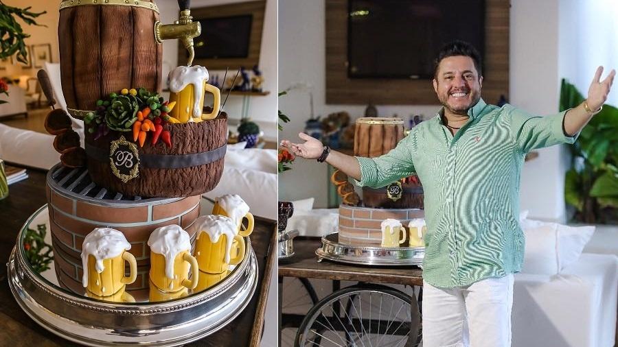 Sertanejo Bruno ganha bolo de aniversário em formato de chopp - Montagem/UOL/Reprodução/Instagram/brunooficialdobem
