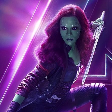 """Zoe Saldana como Gamora em """"Vingadores: Guerra Infinita"""" - Divulgação"""
