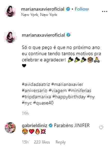 Gabriel Diniz havia desejado parabéns para a atriz Mariana Xavier no Instagram - Reprodução/Instagram