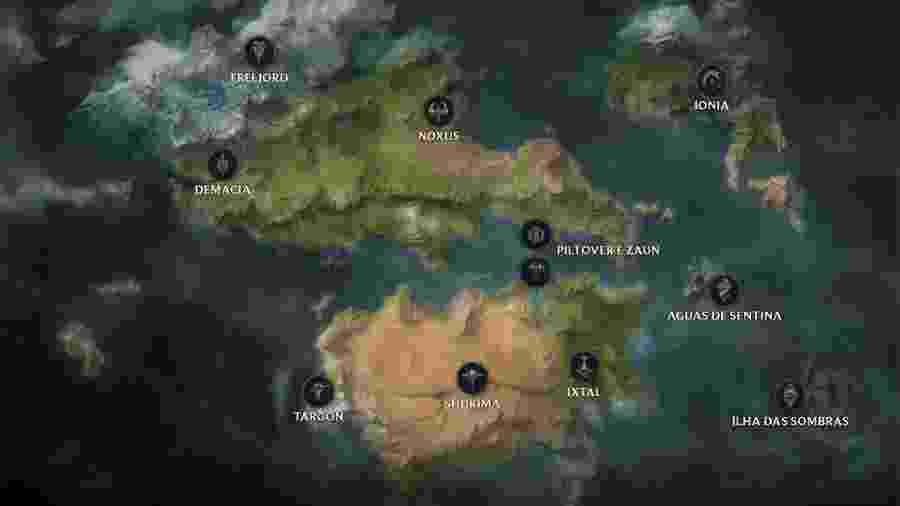 Mapa de Runeterra, do League of Legends - Reprodução/Riot Games