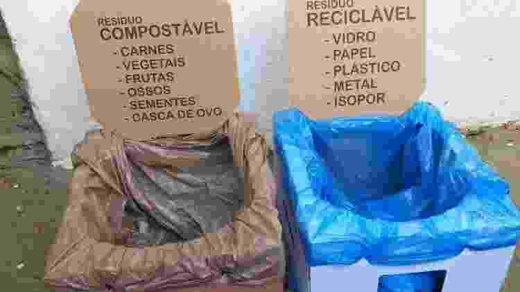 O suporte recebe sacos de lixo, preferencialmente feitos de bioplástico, e pode exibir instruções educativas - Arquivo pessoal