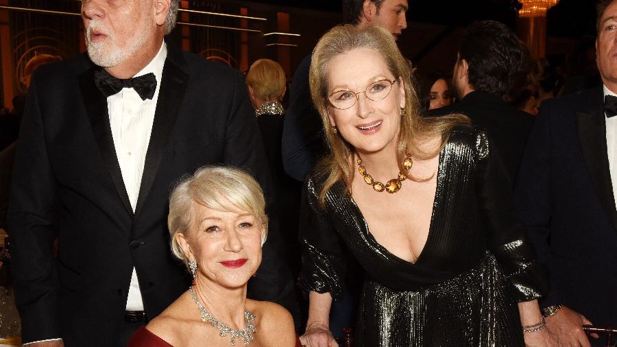 Helen Mirren e Meryl Streep no Globo de Ouro ontem, em Los Angeles - Getty Images