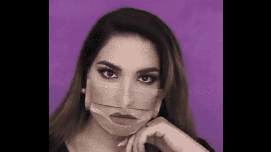 """Usuária do Twitter faz """"tutorial de maquiagem"""" com máscara - Reprodução/Twitter"""