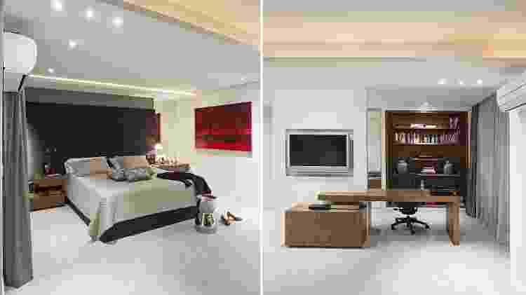 No quarto de casal, uma parede de drywall separa a cama dos closets e banheiros. Além de acomodar a TV, a estrutura oca aloja e esconde toda a fiação necessária para os equipamentos usados na bancada do home office, instalada bem ao lado. O projeto, assinado pelas arquitetas Ieda e Carina Korman, da Korman Arquitetos (https://www.instagram.com/kormanarquitetos/), contempla móveis baixos, em ambos os lados da parede, onde são guardados pastas e documentos. O nicho para livros, logo atrás, fecha o mobiliário de trabalho, feito em marcenaria, com madeira freijó. - Gui Morelli - Gui Morelli