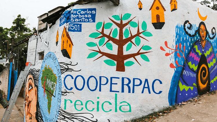 Fachada da Cooperpac, no Grajaú, zona sul de São Paulo, com pintura do artista Mauro - Júlia Dávila / pimpnossacooperativa.com - Júlia Dávila / pimpnossacooperativa.com