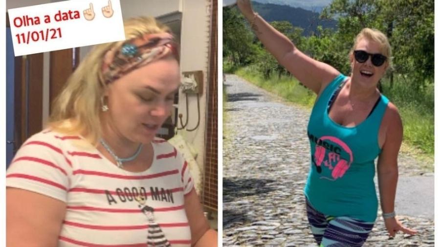 Ana Paula Almeida compartilhou antes e depois com 14kg a menos - Reprodução: Instagram