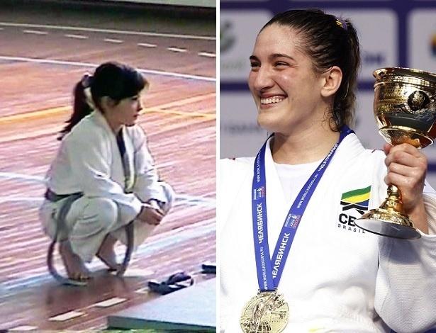 A judoca Mayra Aguiar entrou no tatame pela primeira vez quando tinha seis anos - Montagem/Divulgação