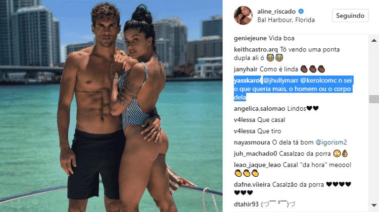 Aline Riscado responde seguidora - Reprodução/Instagram/aline_riscado - Reprodução/Instagram/aline_riscado